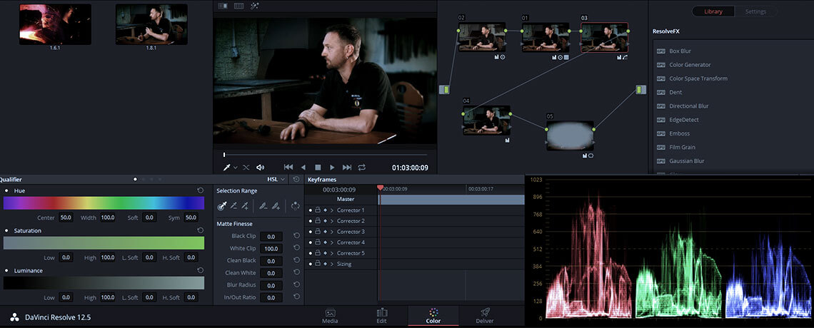 Einblick in das Color Grading Programm DaVinci Resolve